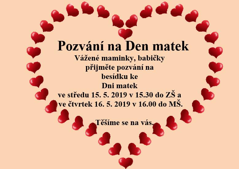 Pozvání na Den matek